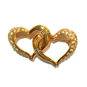 Swarovski Interlocking Double Heart Brooch Pin